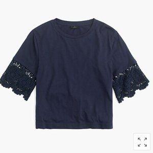 NWOT J Crew Lace Sleeve T-Shirt